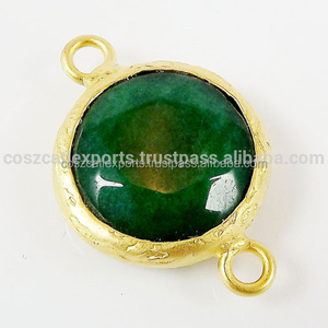 Emerald Green Faceted Round Connector Gold plated Bezel Fashion Jewelry For Pendant