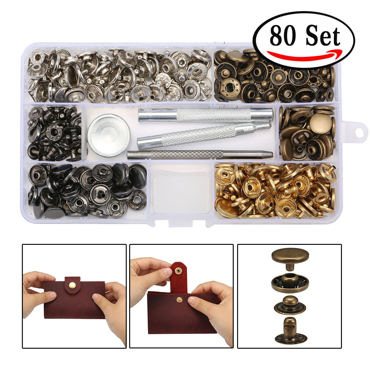 KingSo 80pcs 6/4mm leather Snap buttons,Leather decoration snap kit for leather Copper Snaps Fasteners Leather Button Press Studs with Fixing Tool Kit Rivet Gun (12.5 mm)