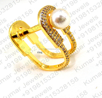 Classy CZ Pearl Stone Fashion Designer Gold Platinum Plated Handmade Real Look Finger Rings