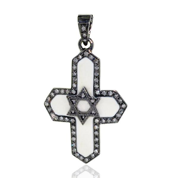 Cross Sign Charm Pendant 925 Sterling Silver Pave Diamond Enamel Jewelry