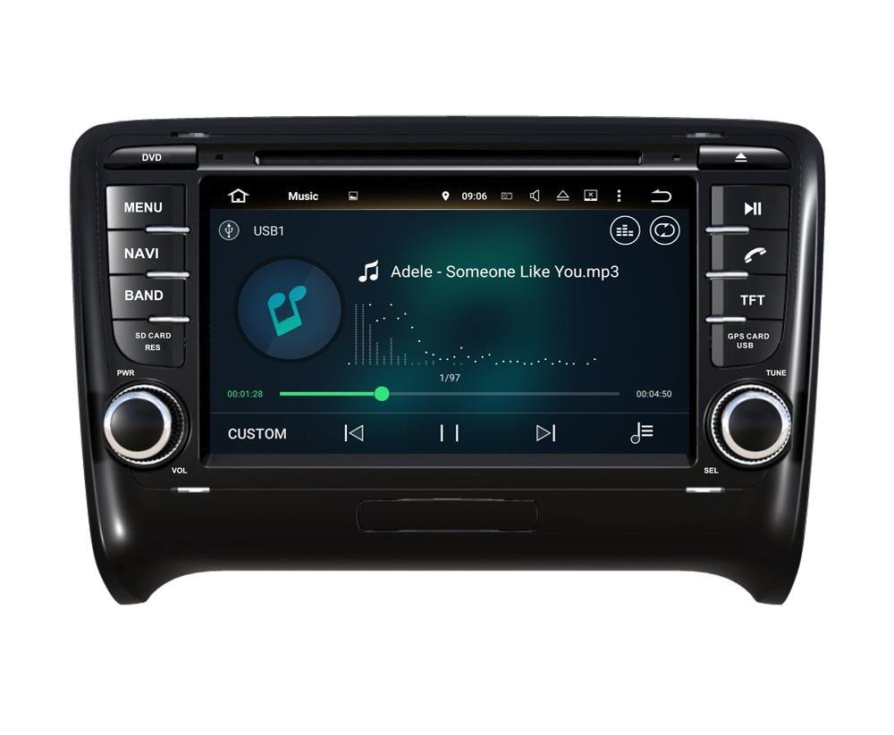 XTTEK 7 inch HD 1024x600 Multi-touch Screen in dash Car GPS Navigation System for Audi TT 2006-2011 Quad Core Android DVD Player+Bluetooth+WIFI+SWC+Backup Camera+North America Map