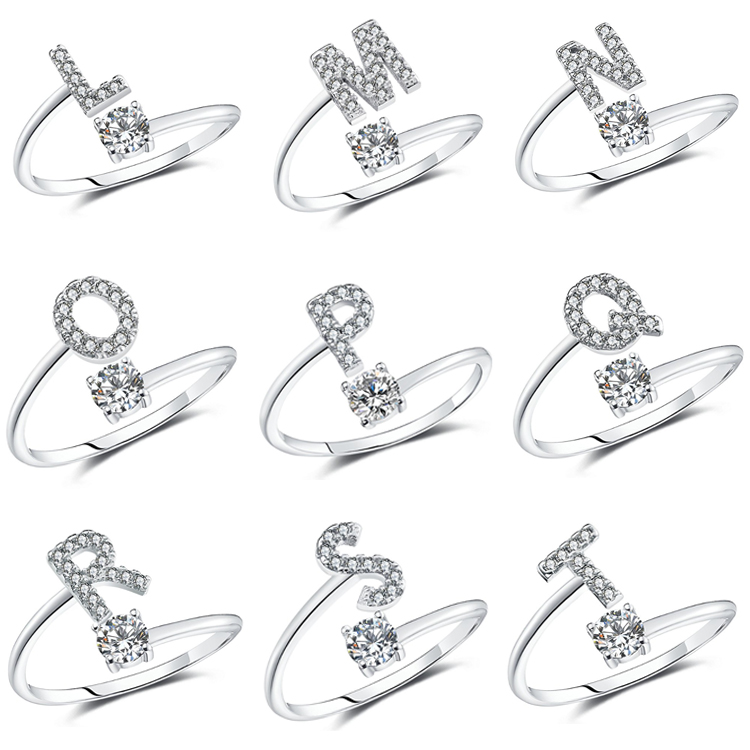 925 Sterling Silver A-Z Adjustable Initial Ring Letter Ring