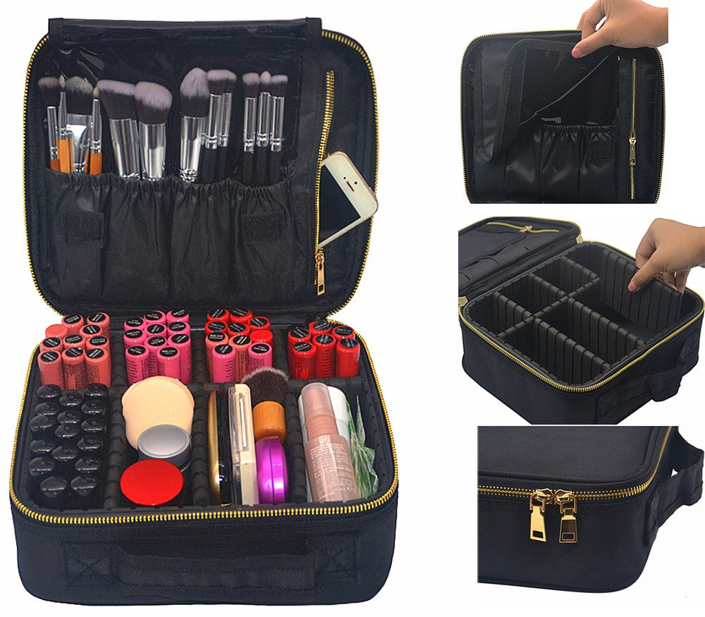 Makeup Train Case, FLYMEI Portable Travel Makeup Case Waterproof Cosmetic Organizer Kit Make Up Artist Storage for Cosmetics, Makeup Brush Set, Jewelry, ...