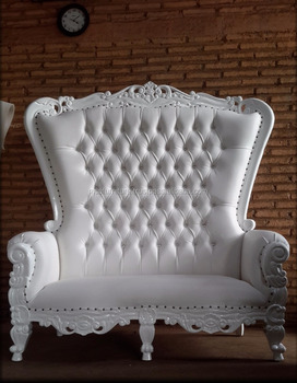 Baroque Highback Wedding Throne Loveseat White Finish Chairs Furniture