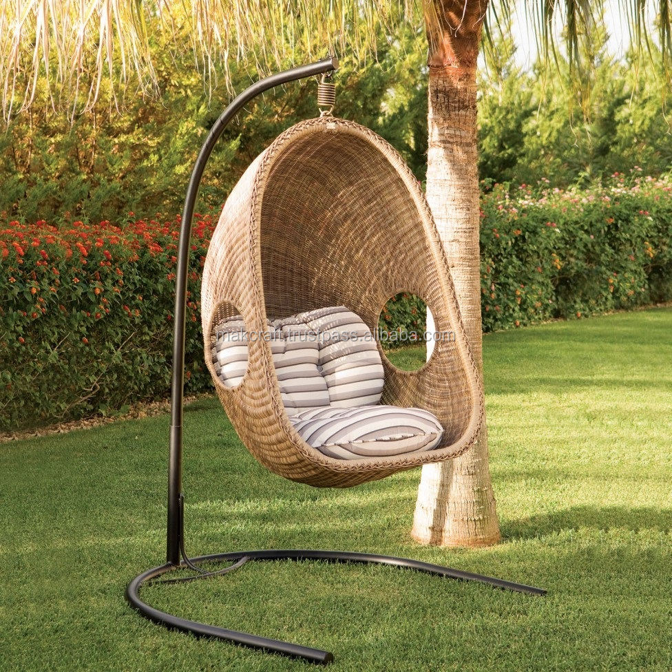 Synthetic wicker hanging chair outdoor rattan swing chair garden furniture outdoor swing chair with steel frame power coated
