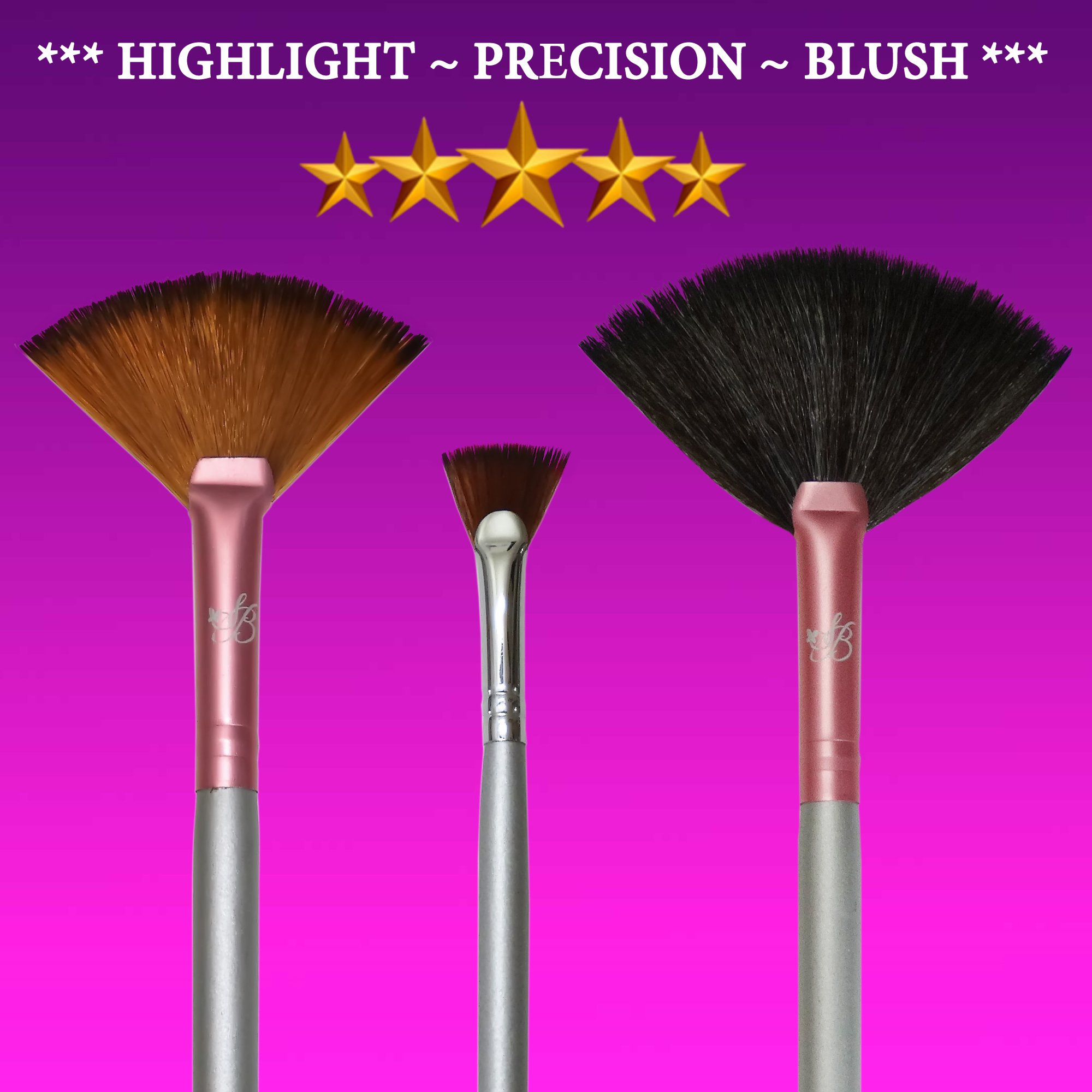 57e7aa90b2e Get Quotations · Fan Brush Set for Highlighter & Highlighting Kit Star  Beauty Premium Fan Brush Makeup Plush Fan
