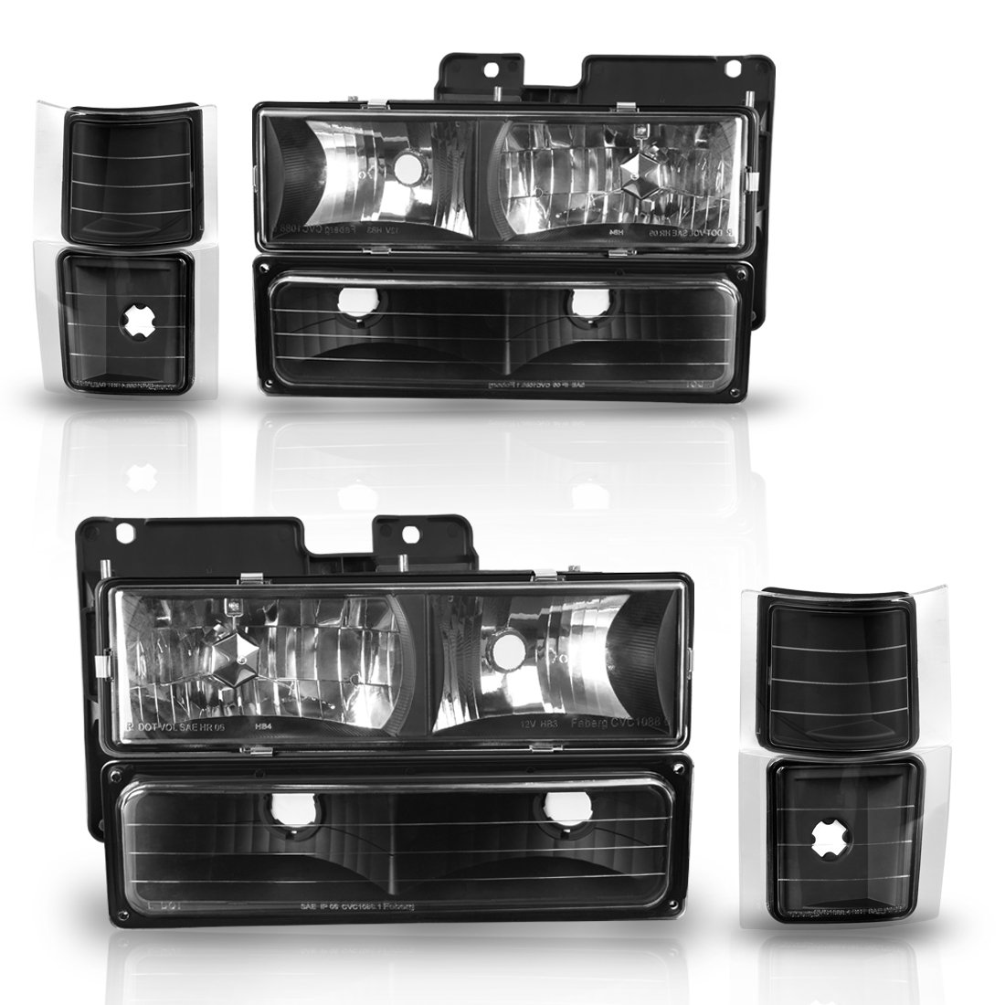 Headlight Assembly kit for Chevy C/k Series 1500 2500 3500 / Chevy Tahoe / Chevy Suburban / Chevy Silverado Crystal Headlamp w/ Corner & Bumper Chrome Housing with Clear Lens,2 Year Warranty (Black)