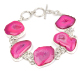 pink widow druzy silver plated fashion bracelet jewelry