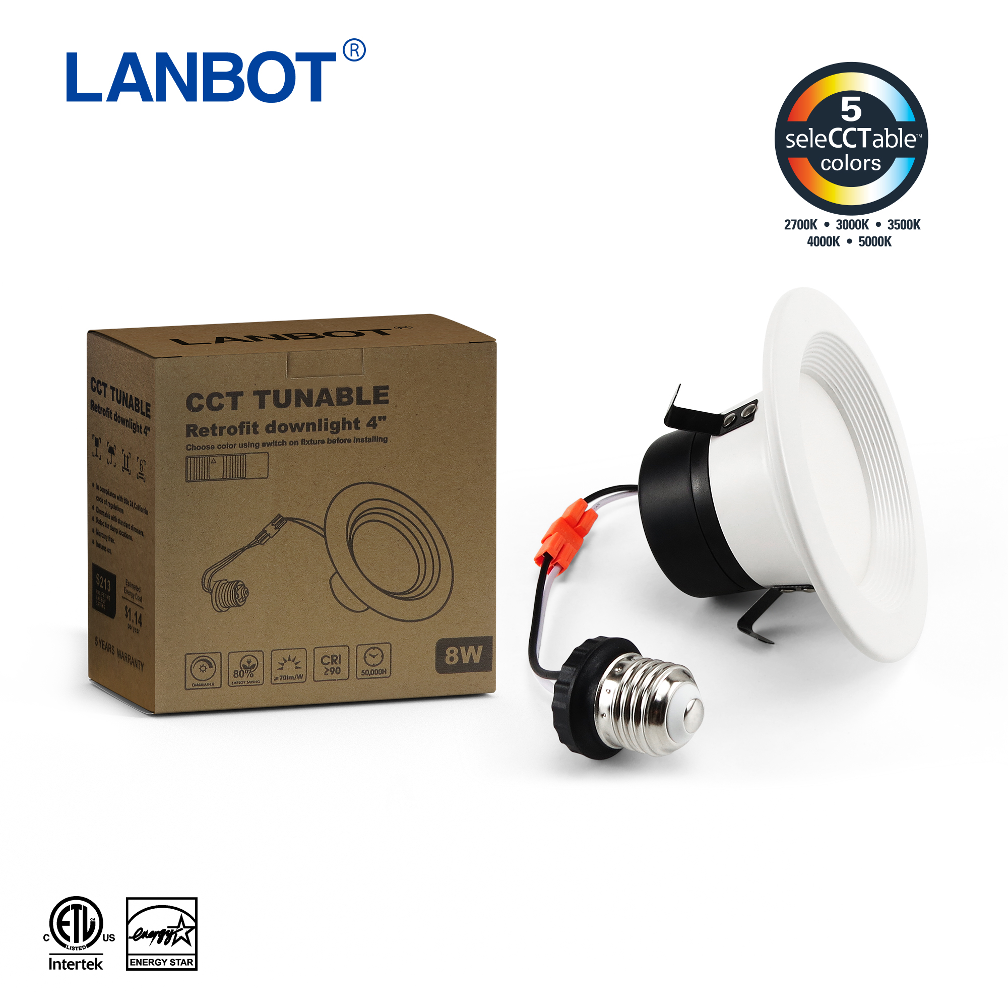 America Market 4inch 6inch dimmable suspended led down light Retrofit kit Recessed led downlight