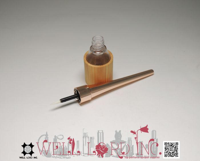 High selling crystal clear  nail polish bottle with brush and gold cap wooden packaging 7ml