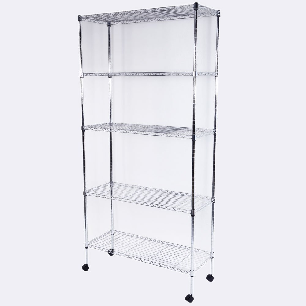 "5-Layer Iron Shelf with 1.5"" Nylon Wheels 180x90x35 Chrome (Chrome Plated)"