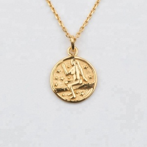 14k vermeil gold Virgo pendant zodiac sign charm necklace 2018