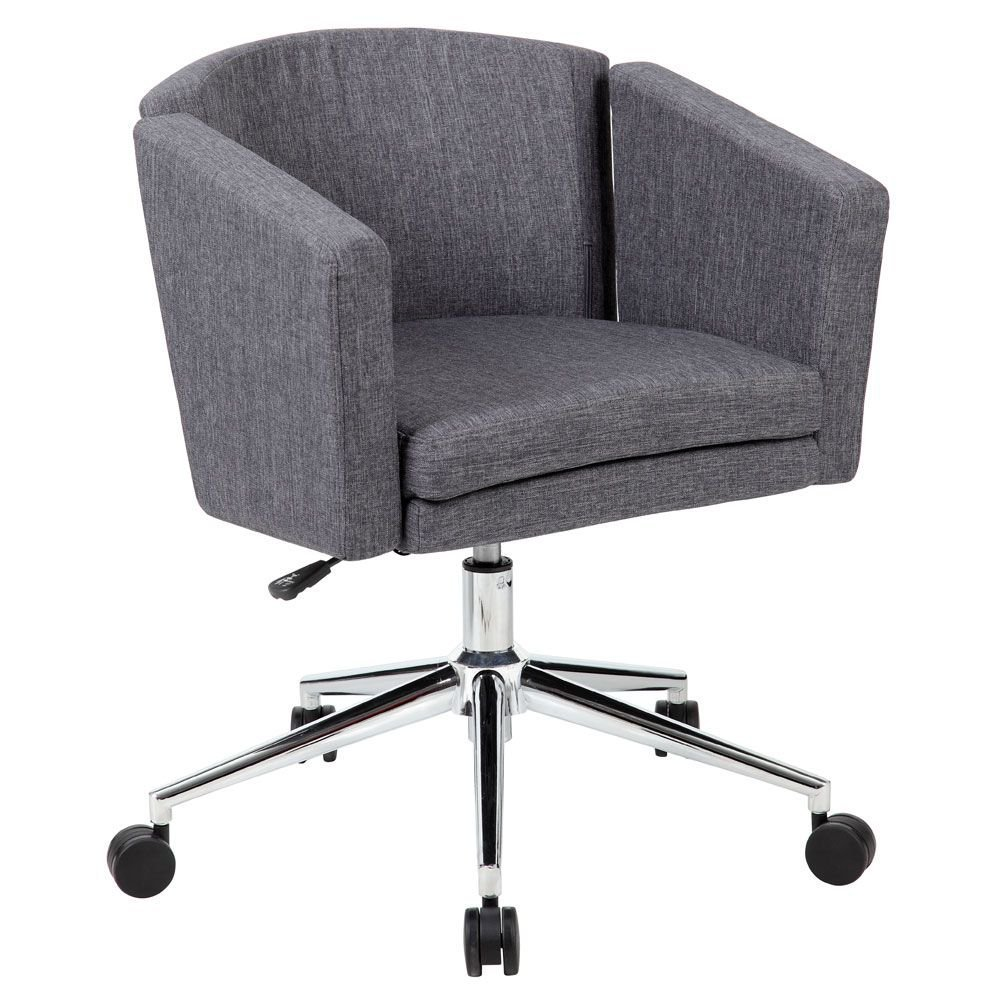 """Metro Club Desk Chair in Fabric Dimensions: 27""""W x 28""""D x 30-33""""H Seat Dimensions: 17""""Wx19""""Dx19-22""""H Slate Gray Fabric"""