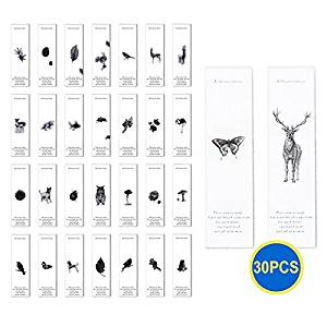 Gadget.Cool Animal Spirit Bookmarks Bulk - 30 Packs Wholesale Bookmarks, White and Simple, Vivid Animal and Plant Pictures, Bookmarks for Kids Students Animal Lovers (Animal Catalog)