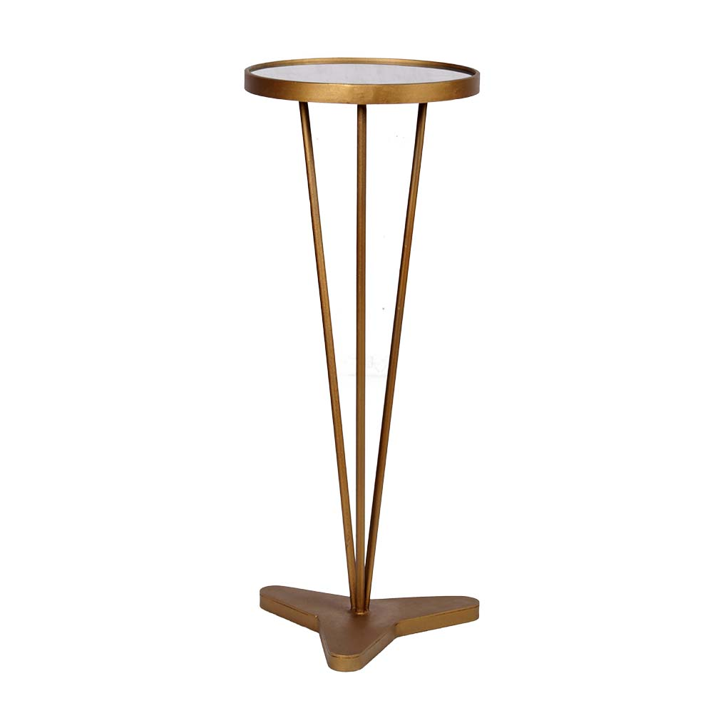 Handicraft White Marble top High table in Brass finish