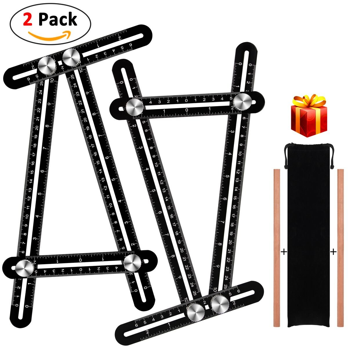 2 Pack Multi Angle Measuring Ruler Handymen Craftsmen Precise Premium Aluminum Alloy Easy Angle Ruler Metal Template Tool Layout Tool with Perforated Mold for Builders Carpenters