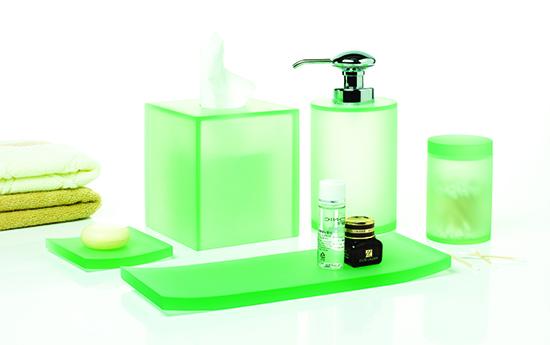 Custom 26 Years China Manufacture Supply Modern Ostar Resin Orange  Transparent Bathroom Ware Sets