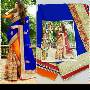 New Design Of 2017 Ending For Diwali Festival Geogroette With Embroidery Work And Diamond Work Saree Buy Double Color Designer Saree North Indian Designer Sarees Border Design Saree Product On Alibaba Com