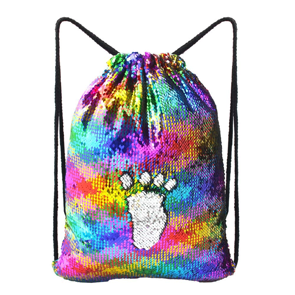 Fashion Sequin Drawstring Backpack Dancing Dance Sequin Backpack Flip Sequin Bling Bag for Beach Hiking