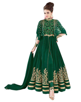 5cdb962de 2017 Party Wear Gown Style Anarkali Suits With Flairs And Fluffy Sleeves  Dress Material (Semi