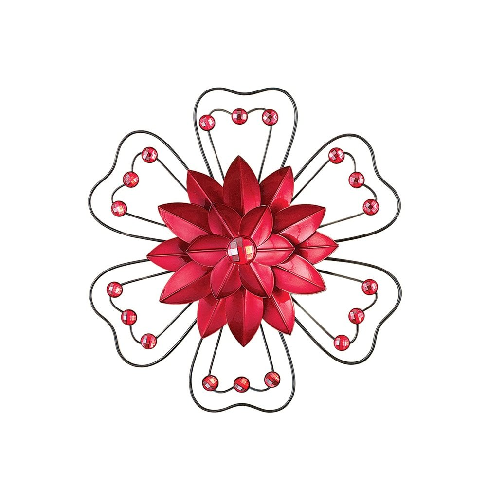 Crystal Accented 3D Metal Flower Wall Art Décor, Red