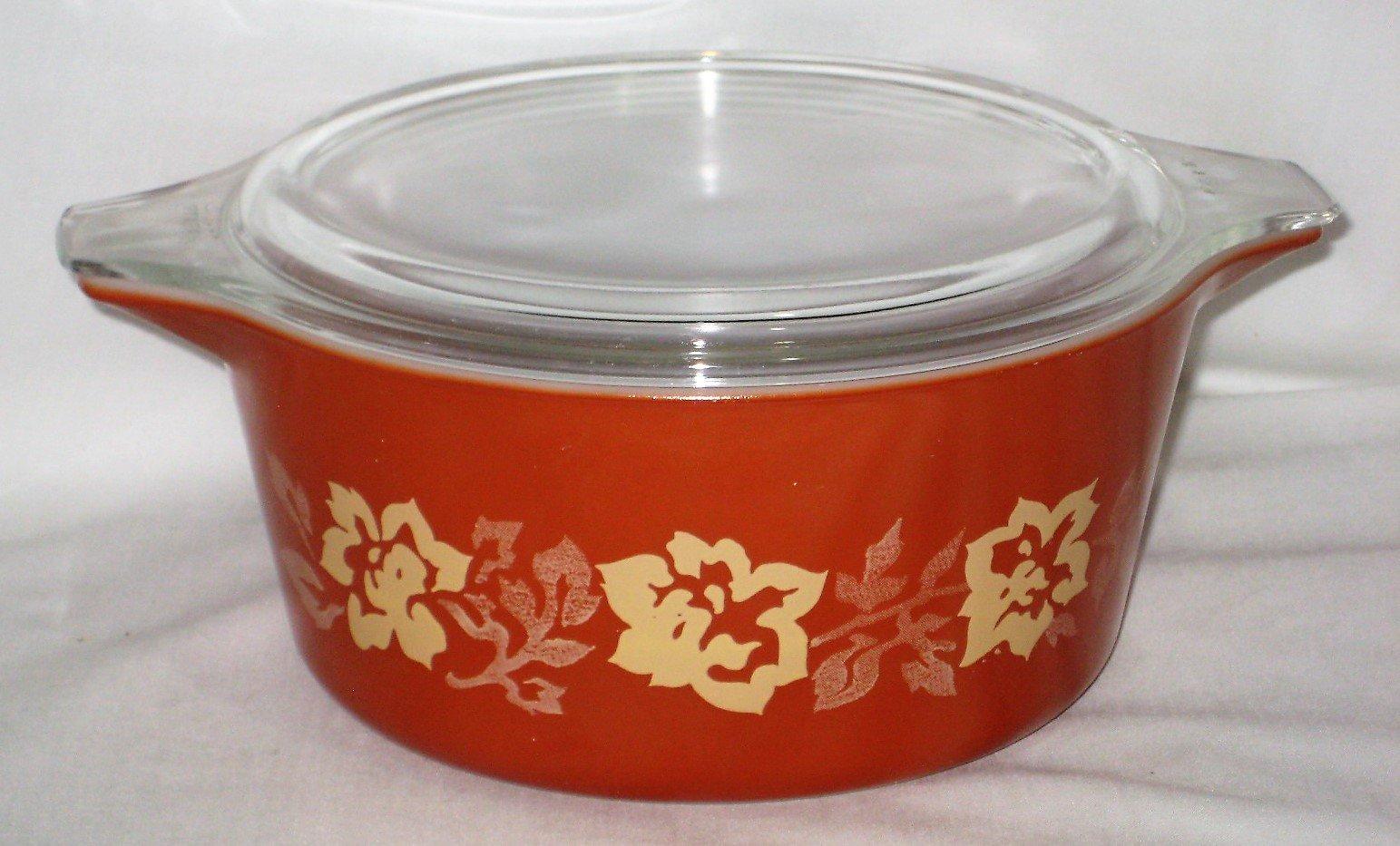 Vintage Pyrex Terra Cotta Rose 1 1/2 Lite Round Glass Casserole w/ Clear Glass Lid
