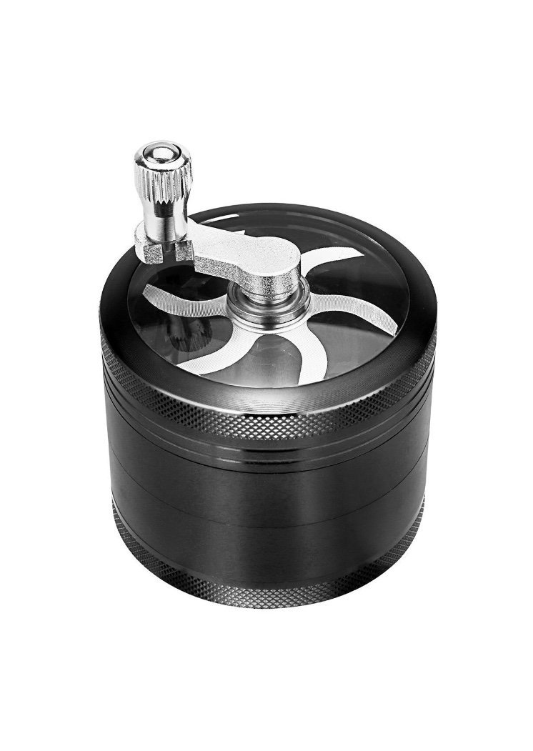 Spice Herb Tobacco Weed Grinder with Handle, SHENMENG Tobacco Spice Herb Weed Mill with Pollen Scraper, Zinc Alloy Material Made, Razor-Sharp Teeth, 4 Layers 2.5 Inches - Black