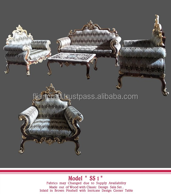 Three Seater Living Room Wooden Shell Furniture Classic Style Sofa