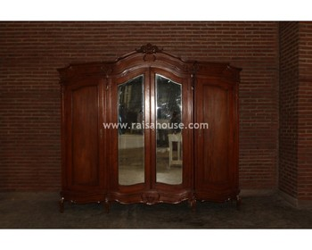 Indonesia French Furniture - 4 Door Wardrobe Top Center Carving Antique Furniture
