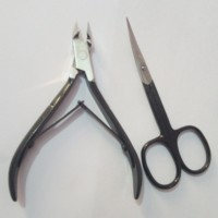 2pcs/set Nail Cuticle Pusher Spoon Nails Scissor Stainless Steel Dead Skin Remover Cutter Nipper