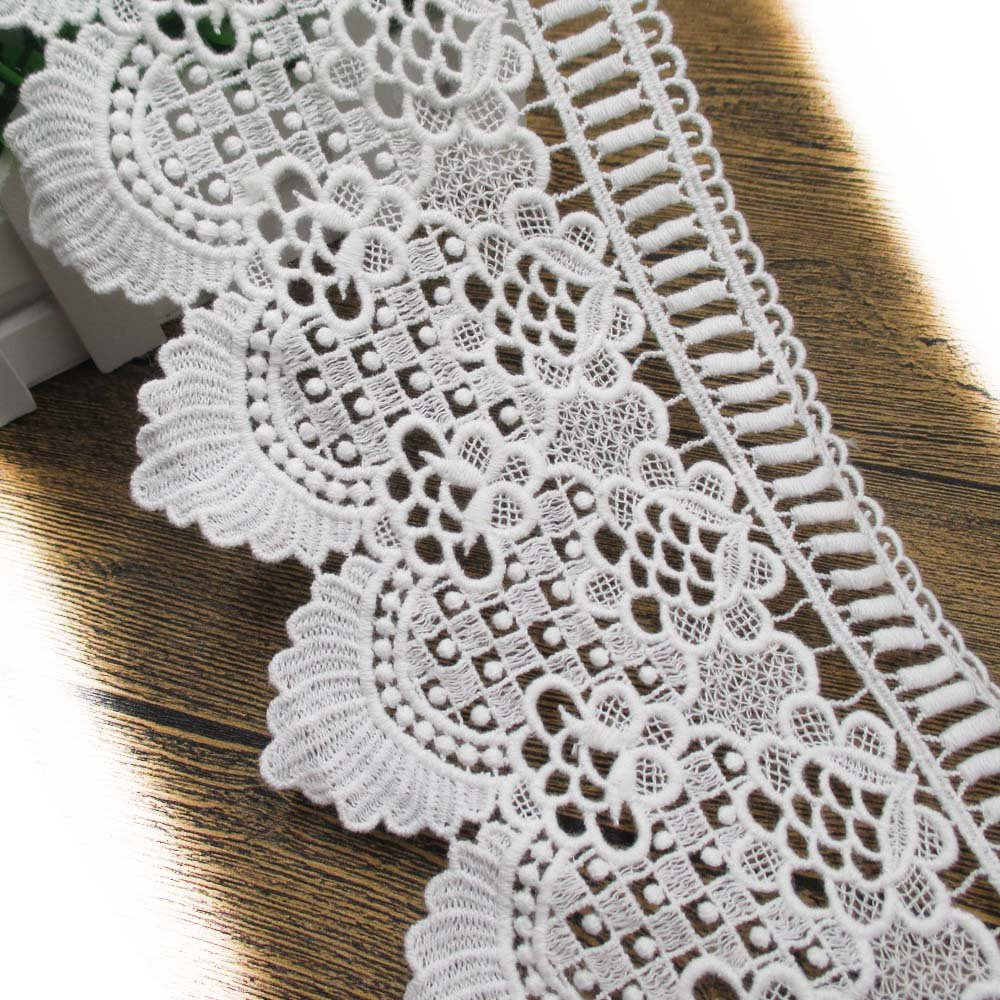 e1c9226c768075 Get Quotations · 5 Inch Wide Cotton Embroidered Eyelet Lace Trims Cotton  Fabric For Garment and DIY Craft In
