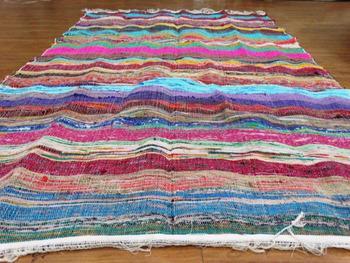 Indian Woven Cotton Rag Rug Chindi Dari Mat Floor Reversible Rug