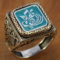 925 sterling silver turkish man men ring handmade jewellery dice suleman signature emulate music treble clef bass guitar
