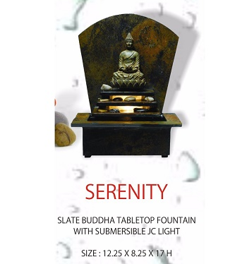 Serenity Slate Buddha Tabletop Fountain With Light And Pebble