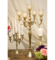 wedding gold candelabra with glass cup