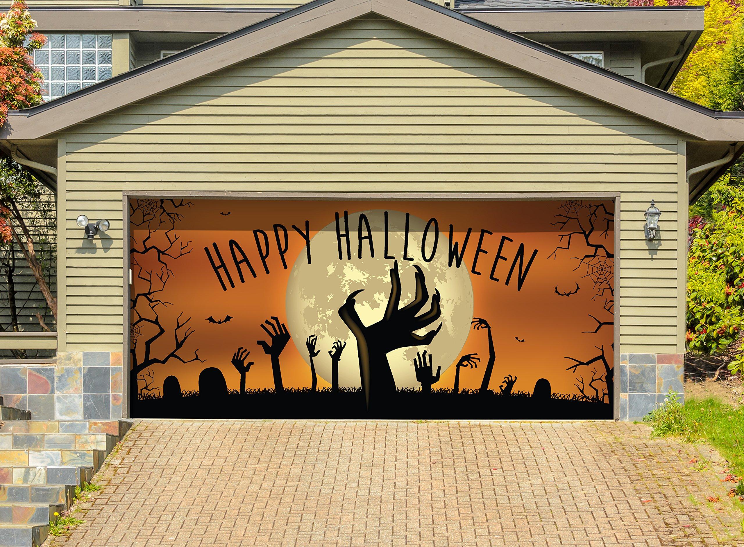 Victory Corps Outdoor Halloween Holiday Garage Door Banner Cover Mural Décoration - Happy Halloween Graveyard Zombie Hands - Outdoor Halloween Holiday Garage Door Banner Décor Sign 7'x 16'