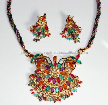 d9b7936d098c Rajasthani Artificial Collar Pendientes Conjunto - Buy Jaipuri Étnico Hecho  A Mano Lakh/lac Meenakari Collar Con Cuentas Y Aretes,Joyas Vintage ...