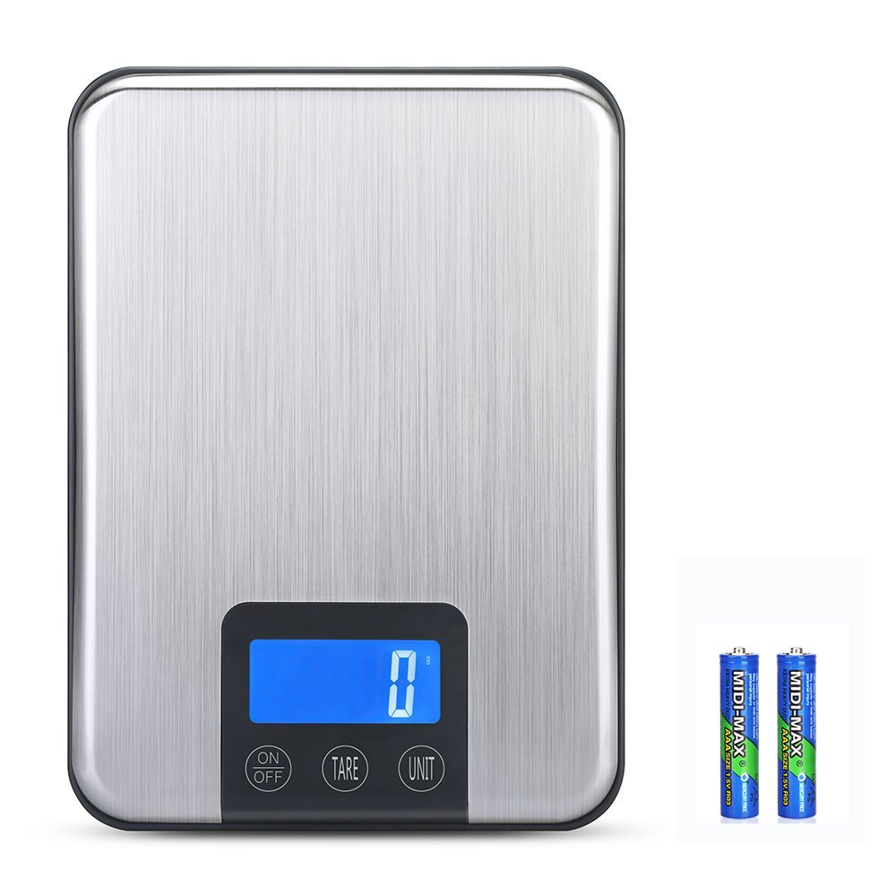 KEDSUM Digital Kitchen Scale, 33lb/15kg Multifunction Food Scale, Portable Cooking Scale with Stainless Steel Platform, Larger Backlit LCD Display, Convenient Hook Design (Batteries Included)