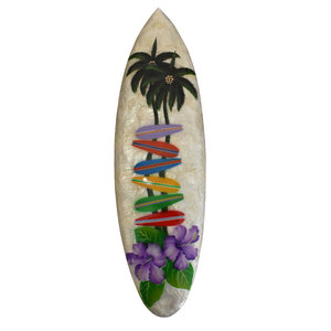 Creative design surfboard 50 cm full capiz shell air brushed home decoration