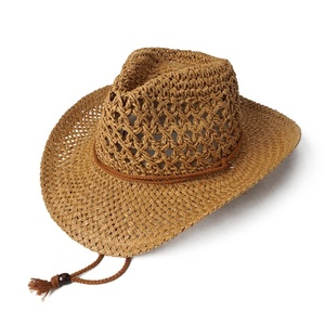 Western hat style paper straw cowboy hats unisex with cotton string cc9399c45a73