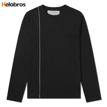 Custom Design Wholesale Black Round Neck Oversize Cotton Spandex Loose Fit T shirt Long sleeve Mens