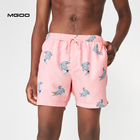 MGOO Split Hem Peachy Polyester Pink Color Men Custom All Over Printing Swim Trunks
