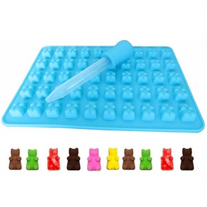 Chocolate Cute Custom 3d silicone candy gummy bear mold with dropper