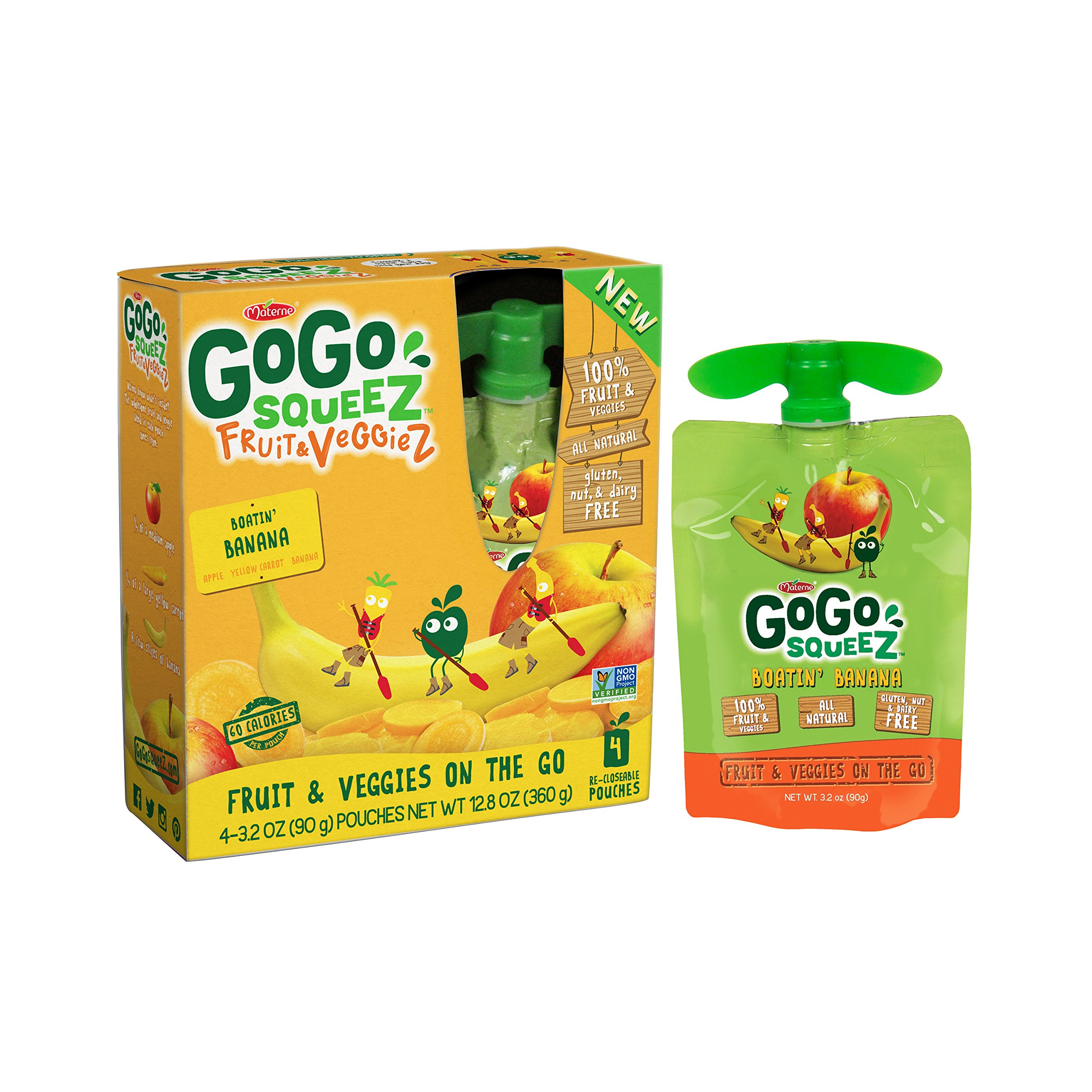 GoGo SqueeZ Fruit & VeggieZ on the Go, Apple Yellow Carrot Banana, 3.2 Ounce Portable BPA-Free Pouches, Gluten-Free, 48 Total Pouches (12 Boxes with 4 Pouches Each)