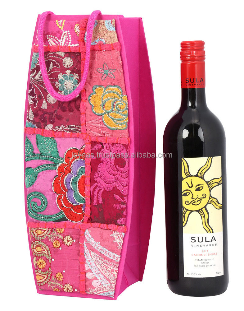 Cardboard And Handmade Paper Floral Rajasthani Patch Work Single Wine Bottle Holder