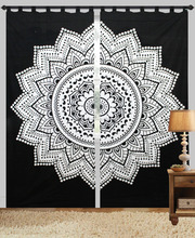 Black and White Lotus Floral curtain Wall Hanging Hippie Bohemian with Loops
