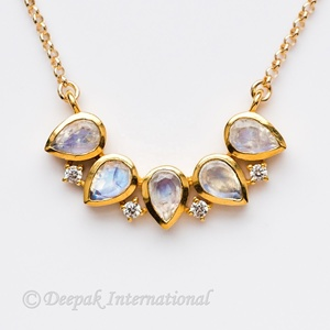 wholesale natural rainbow moonstone 925 sterling silver yellow gold plating june birthstone cz pendant