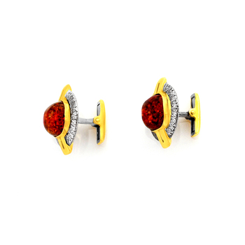 Silver cufflinks with black rhodium and gold leaf, cognac amber