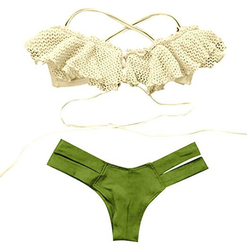 Women Bikini Set,IEason Hot Sale!Women Bikini Set,Canserin Womem's Printed Bandage Two Piece Swimsuit T-Back Thong Bottom Bikini Set Beach Swimwear (M, Green)