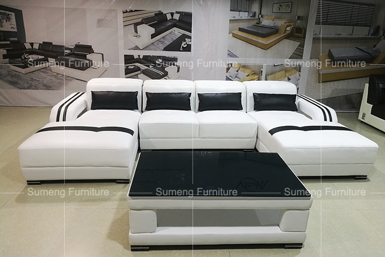 2017 Latest Fancy Living Room Furniture Double Chaise L Shape Sofa Set Designs